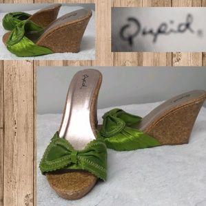 Qupid Green Satin Slip On Cork Wedge Heels